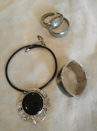 round silver-colored black gemstone encrusted pendant necklace, silver-colored bracelet, and hoop earrings Vaughan, L4K 1G9