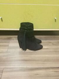 black suede side-zip chunky heeled booties Toronto, M4P 1M2