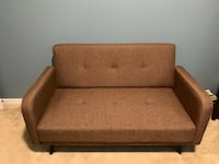 brown wooden framed brown fabric padded sofa Tampa, 33611