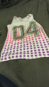 white and purple polka dotted 04 print shirt Indianapolis, 46113