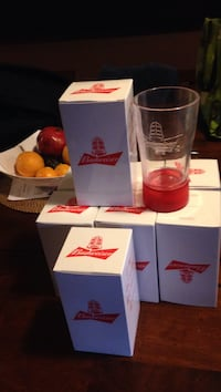 Budweiser clear drinking glass with box 8.00 each