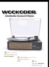 Record Player Turn Table, w/ Built in Speakers, bluetooth, 3 speeds