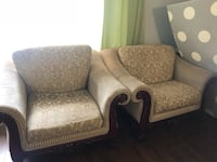 two brown wooden framed gray padded armchairs Surrey, V3S 5M1