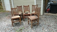 Five Antique solid oak chairs