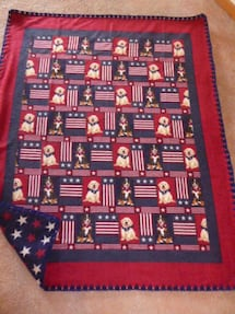 Dog print fleece blankets -New- with crocheted edge Approx 4x5