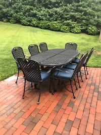 black metal framed patio table with chairs Huntington, 11743