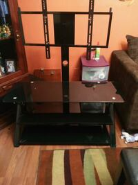 black glass TV stand with mount hold up to 55inch TV a few months old