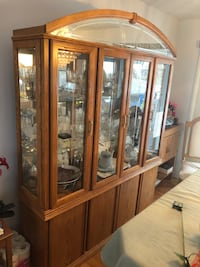 Lighted Wooden Display Cabinet