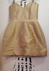 Robe courte corset « Nicoletta », double zip dos, couleur champagne, 40 % laine, 60 % soie,  - Made in France