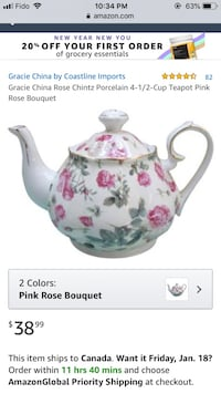 Brand new, never used floral teapot  Mississauga, L4W 3X7