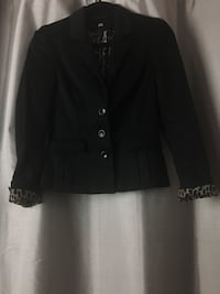 Woman's tapered Black leopard lined suit jacket  Milton