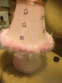 white base table lamp with beige-and-pink fur lampshade Woodbridge, 22193
