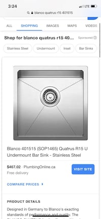 Blanco 15x15 stainless steal sink.