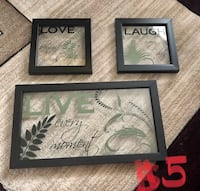 four black wooden framed love, laugh, and live wall decors Ames, 50010