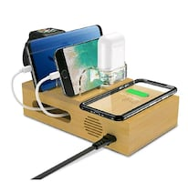 5-in-1 Bamboo Charging Station for Multiple Devices NEW ½ RETAIL