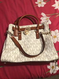 white and brown monogram Michael Kors leather 2-way Manassas Park, 20111