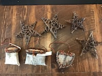Seven handmade wooden birch bark tree Christmas ornaments stars null, K0A 3H0