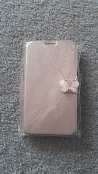 brown leather butterfly-accent smartphone flip case