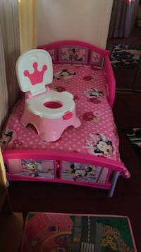 Pink and white minnie mouse toy organizer Socorro, 79927