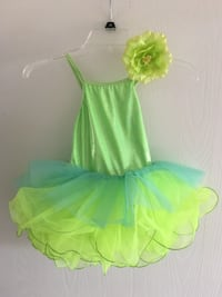 Girl's green and blue floral spaghetti strap dress dance costume