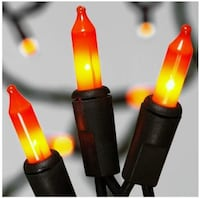 70 Double Lights mini lights orange and yellow. Halloween 13.5 ft