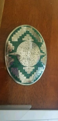 Silver and turquoise Alpaca belt buckle  Independence, 64050