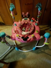 baby's pink and white jumperoo