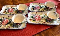 """VINTAGE 4 HAND PAINTED SNACK PLATE SETS FROM ITALY.  10.5""""x6.5"""" WIDE Wood-Ridge, 07075"""