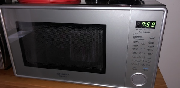 black and white microwave oven