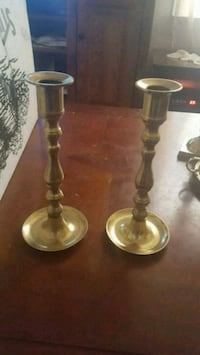 2 pair of brass candle holders
