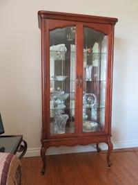 Impeccable Cherry French Provincial Curio Cabinet with Cut Glass in Doors Clarington
