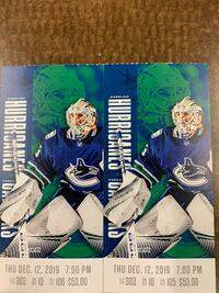 Canucks vs Carolina Thurs Dec 12 Surrey, V3S