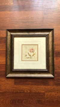 Square brown wooden framed painting of white petaled flowers Campbell, 95008