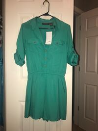 Green button-up romper Chelsea, 35043