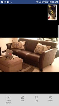 brown leather 3-seat sofa Arlington, 22204