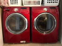 Red front-load washer and dryer set Laval, H7T