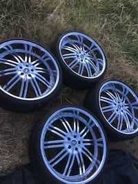 FRESH 24 INCH 5 LUG CHROME WHEELS WITH LOW PRO TIRES  Roseville
