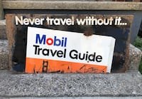 Original extremely hard to find Mobil travel guide sign, vintage/antique oil and gas sign Cambridge, 43725