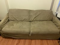 Brown Green Foldout Convertible Sofa Bed Loveseat sized Couch