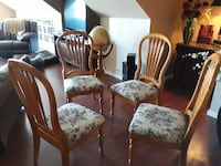 four brown wooden framed white padded chairs Purcell, 73080
