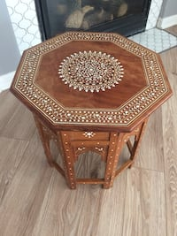 brown wooden framed glass top table Cambridge, N1T