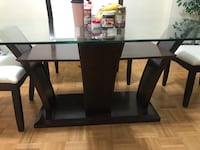 Moving SALE! Glass Dinning Table solid wood with leather chairs... for Sale...price negotiable! Good condition! Mississauga, L5N 3A4