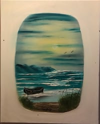16x20 boat in the ocean oil painting by local Artist  Hendersonville, 37075