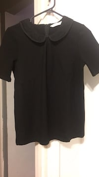 black zipped back collared blouse