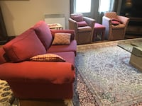 Red wine living room set, 1 three seats 1 two seats, 2 single seats and 2 stones / glass top tables Montréal, H4K 2W6