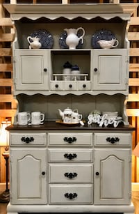 Refinished vintage farmhouse buffet hutch cabinet
