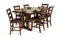 rectangular brown wooden table with six chairs dining set Carlstadt, 07072