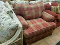 pink and beige plaid sofa chair Forest Hill, 21050