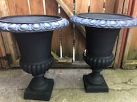 BLACK CAST IRON URNS