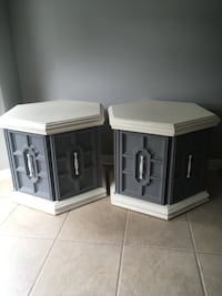 Two white and blue side tables Waterdown, L8B 0A7